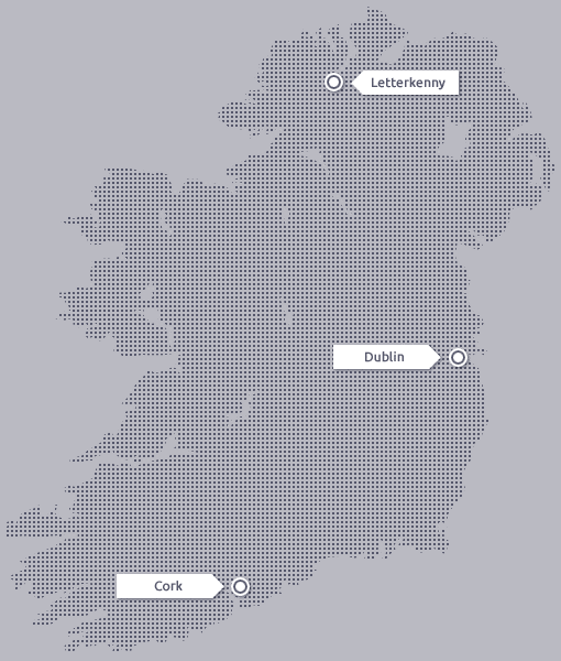 Map of ireland with office locations